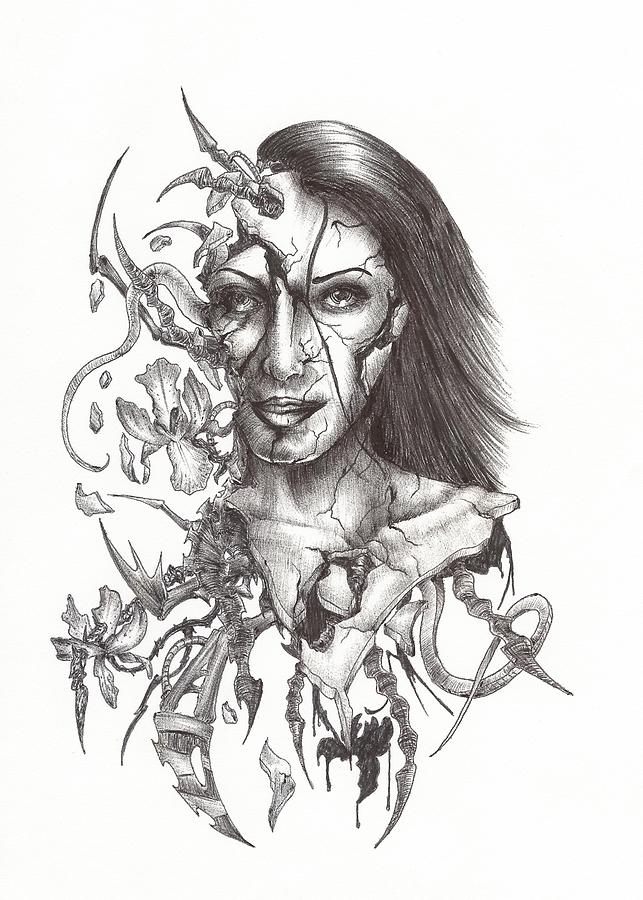 Woman Drawing - What Is On The Inside Part Two by Anthony McCracken
