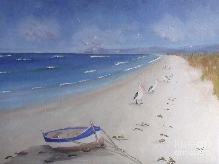 Seascape Painting - Whats In The Boat by Debra Piro