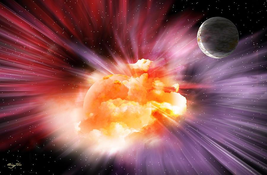 Planets Digital Art - When Black-holes Collide by Barry Jones