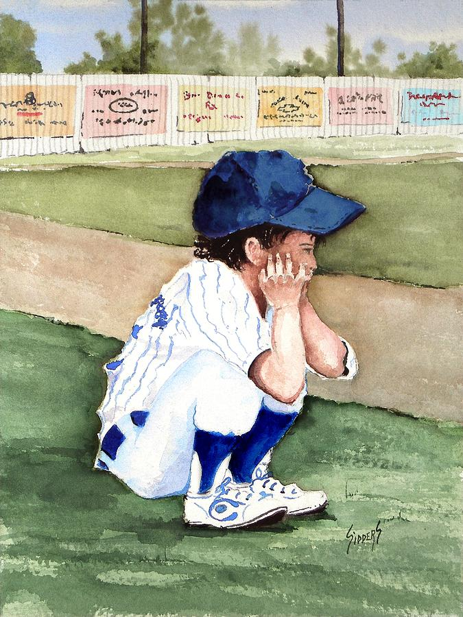 Baseball Painting - When Do I Get To Play by Sam Sidders