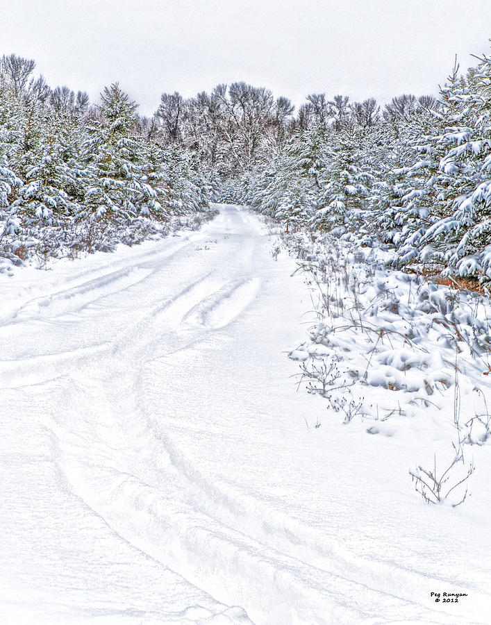 Snowy Road Photograph - Where I Live by Peg Runyan