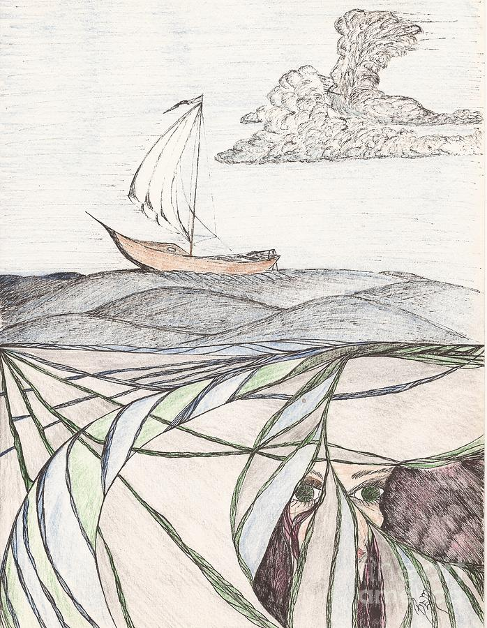 Sea Drawing - Where The Deep Currents Run... - Sketch by Robert Meszaros