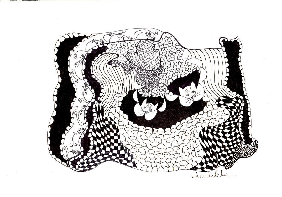 Pen And Ink Drawing - Whered They Go? by Lou Belcher