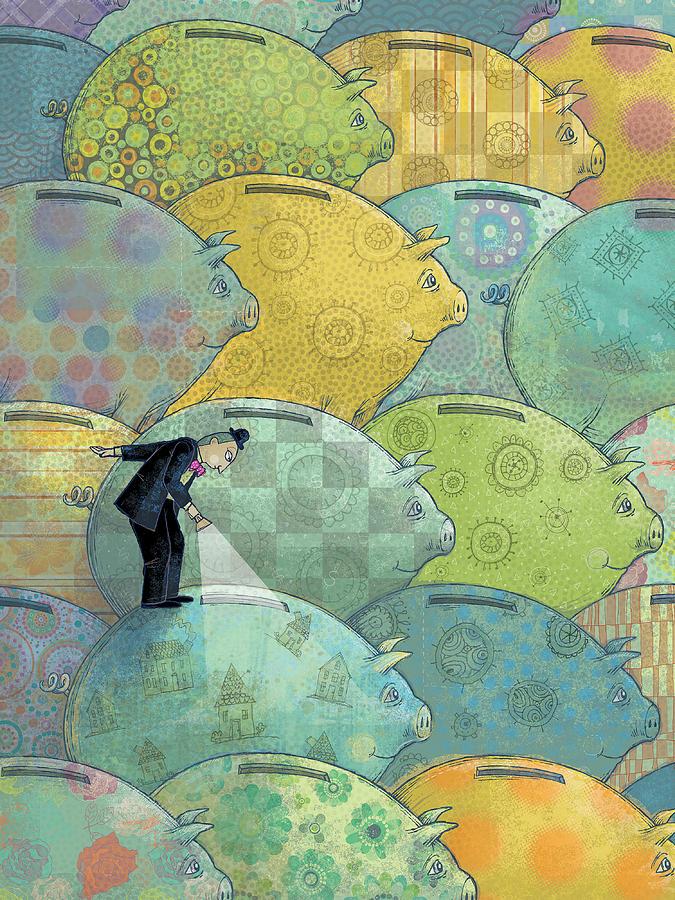Piggy Bank Digital Art - Wheres The Money? by Dennis Wunsch