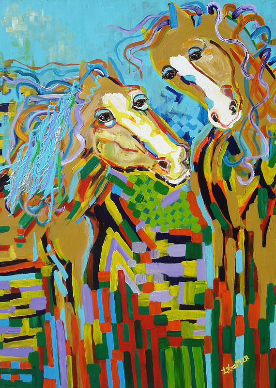 Horse Painting - Whimsical Affection by Lisa Kramer