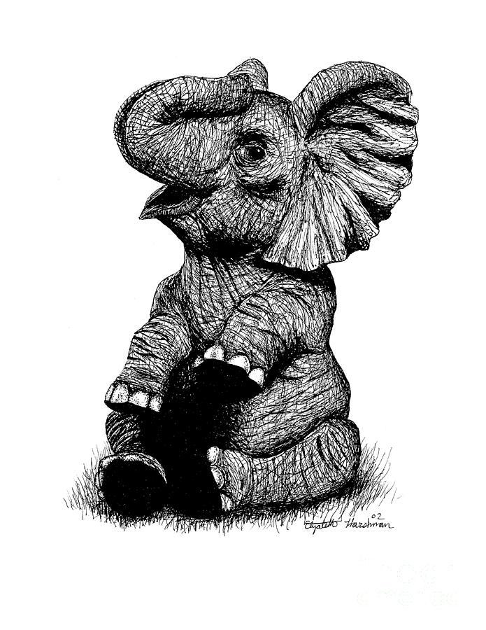 Whimsical Drawing - Whimsical Elephant by Elizabeth Harshman