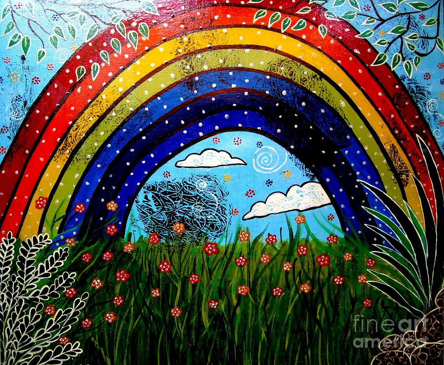 Rainbow Painting - Whimsical Painting-whimsical Rainbow by Priyanka Rastogi