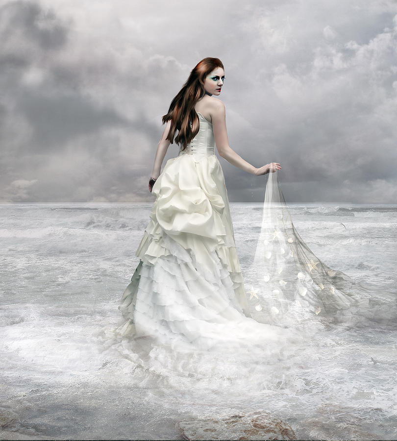 Woman Digital Art - Whispered Waves by Mary Hood