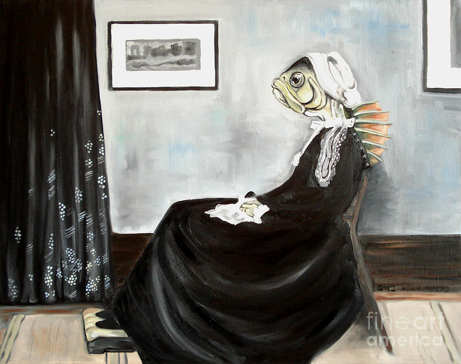 Fish Painting - Whistlers Mother As A Fish by Ellen Marcus