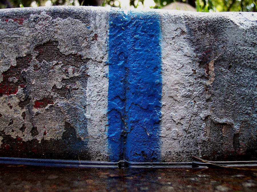 Abstracts Photograph - Whit Blue Curb by Ludmil Dimitrov