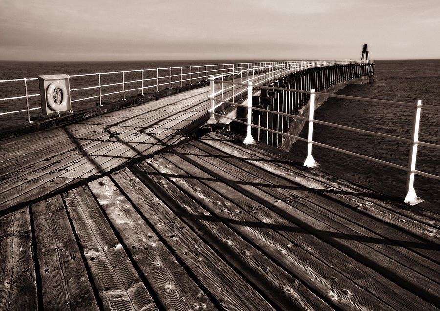 Whitby Photograph - Whitby Pier  by Stephen  Wakefield