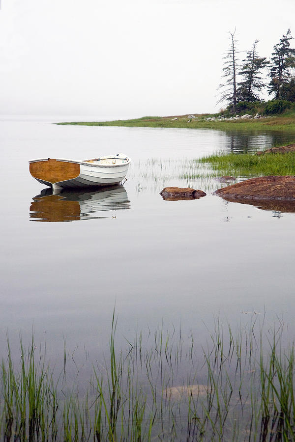 White Boat Along The Shore At Mount Desert Island In Maine Photograph