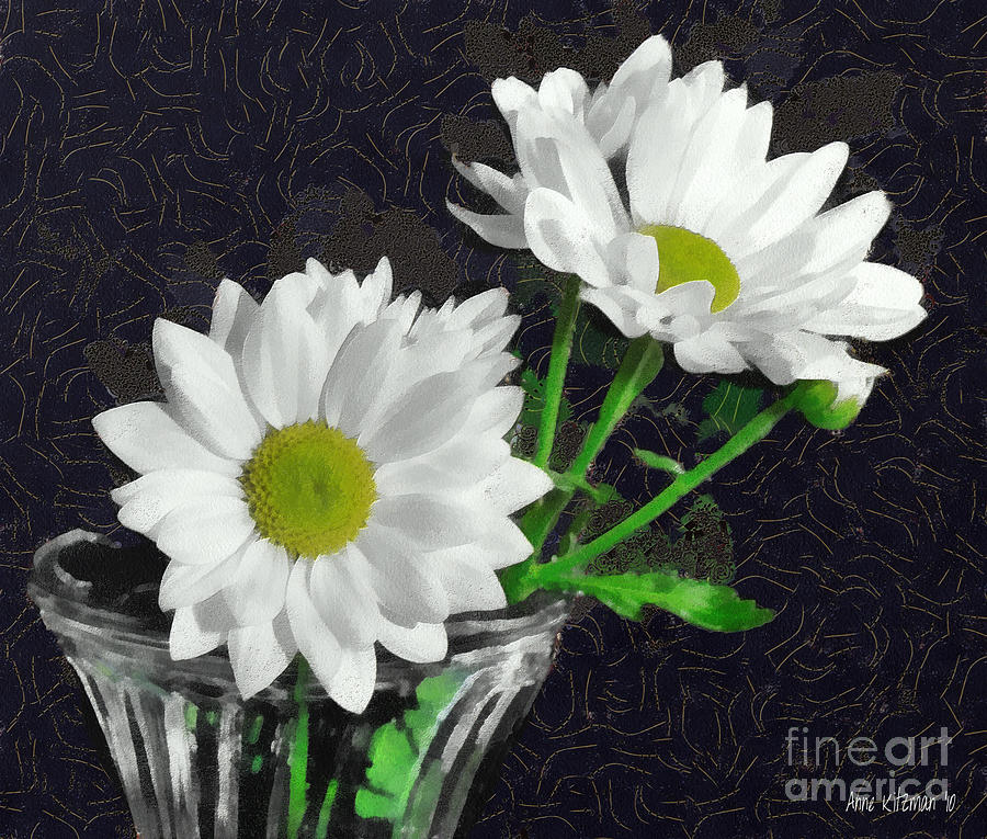 White Daisies In A Glass Vase Painting By Anne Kitzman