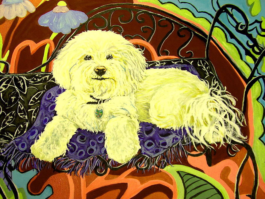 Art Print Painting - White Dog In Garden by Patricia Lazar
