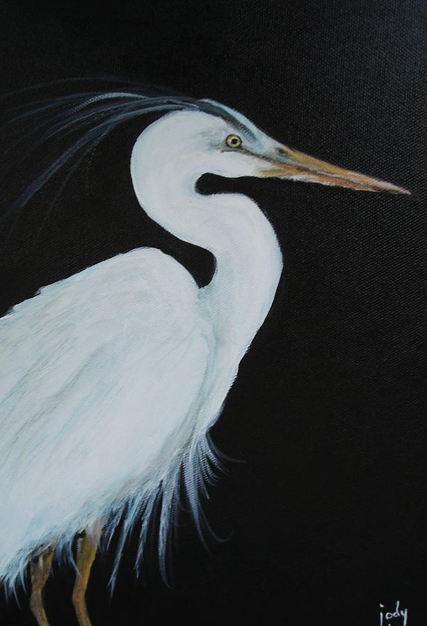White egret painting by jody domingue for White heron paint