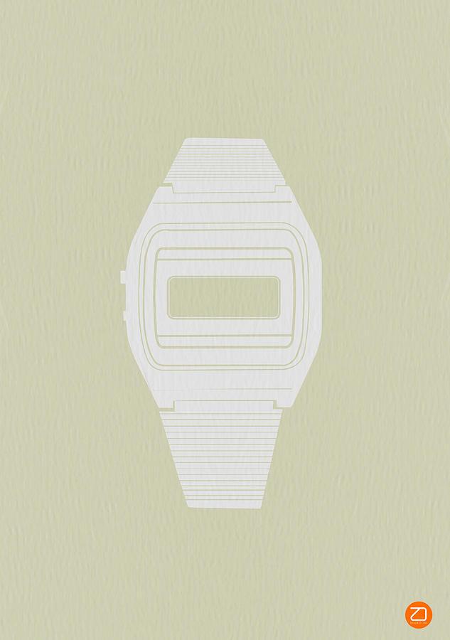 Watch Photograph - White Electronic Watch by Naxart Studio