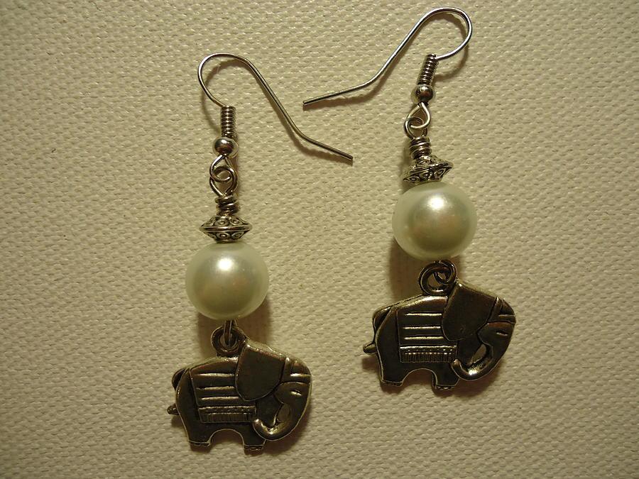 White Earrings Photograph - White Elephant Earrings by Jenna Green