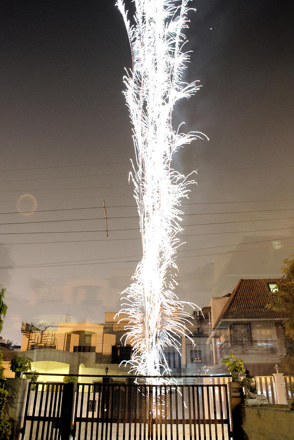White Fireworks Photograph