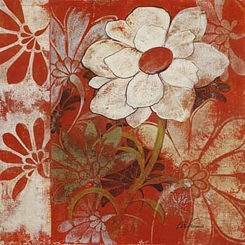 White Floral Painting by Fabrice de Villeneuve