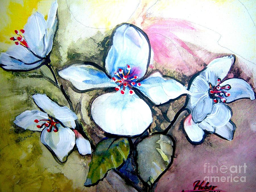 Flowers Painting - White Floral Group by Ken Huber