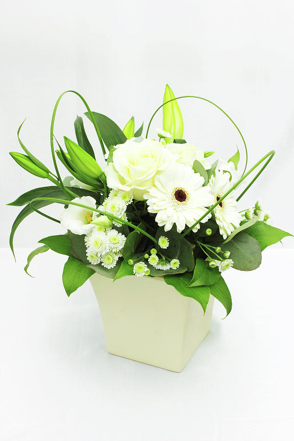 Vertical Photograph - White Flower Bouquet by © S.Musgrove