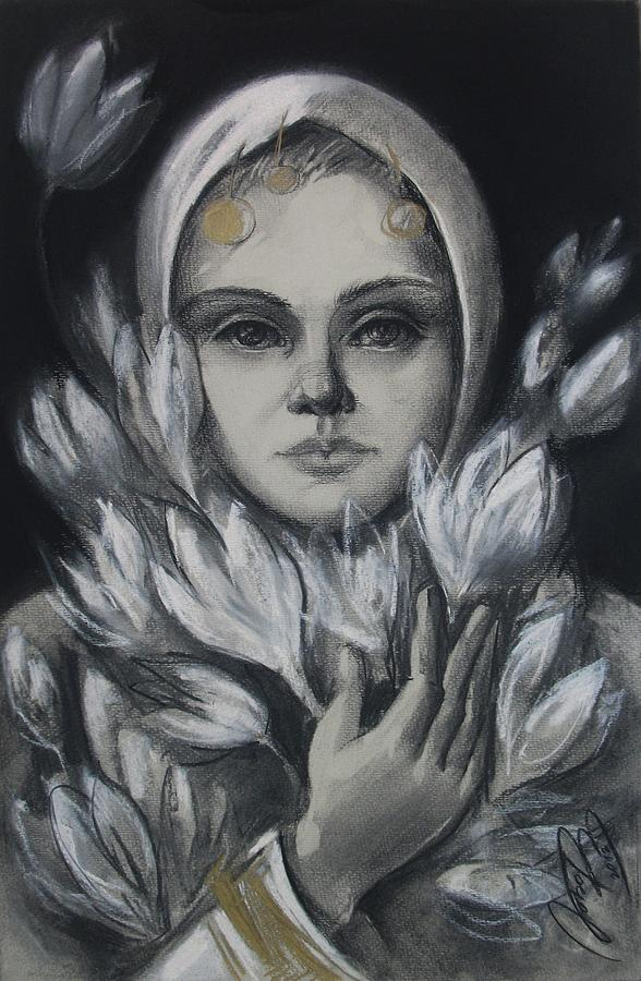 Young Drawing - White Flower by Lyubov Rasic