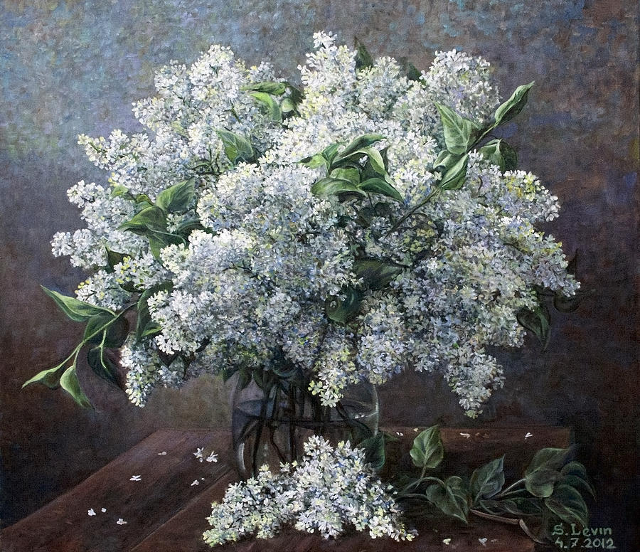 White lilac painting by sergey levin still life painting white lilac by sergey levin mightylinksfo