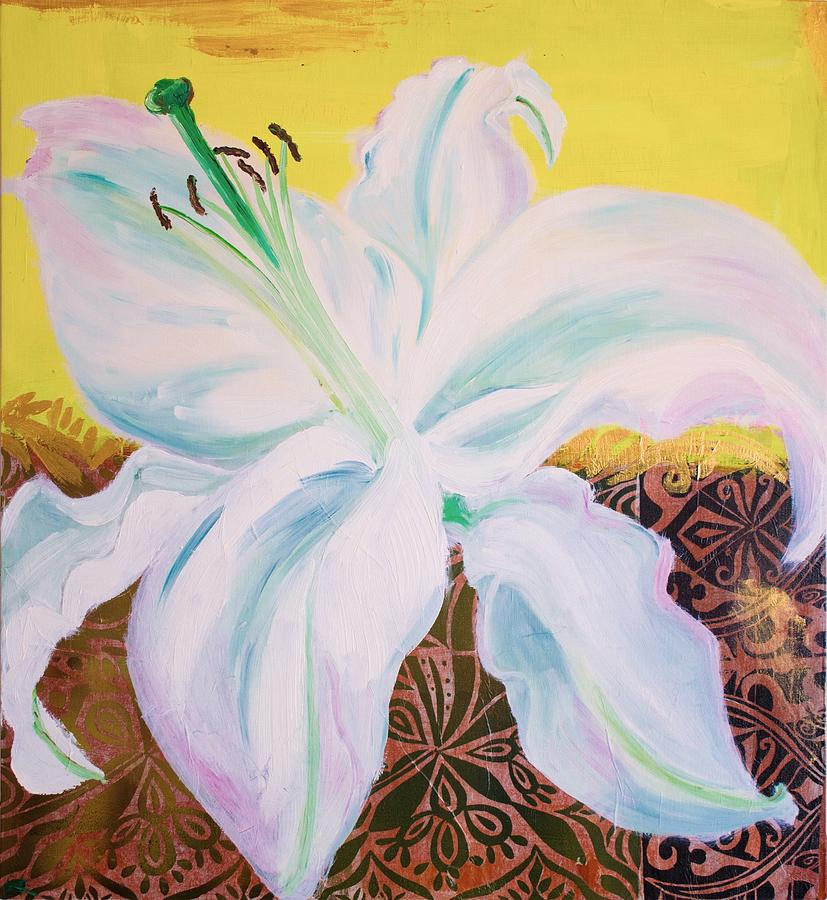White Lily Mixed Media - White Lily On Yellow by Samar Asamoah