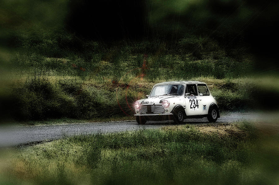 Car Photograph - White Mini Innocenti Austin Morris by Alain De Maximy