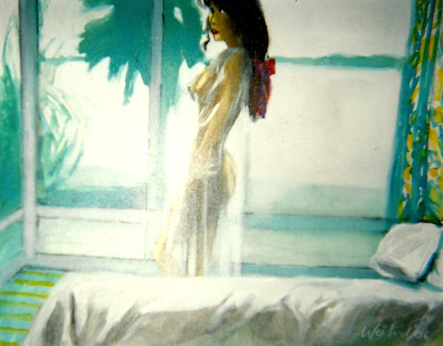 Erotic Painting - White Negligee Palm Tree by Harry WEISBURD