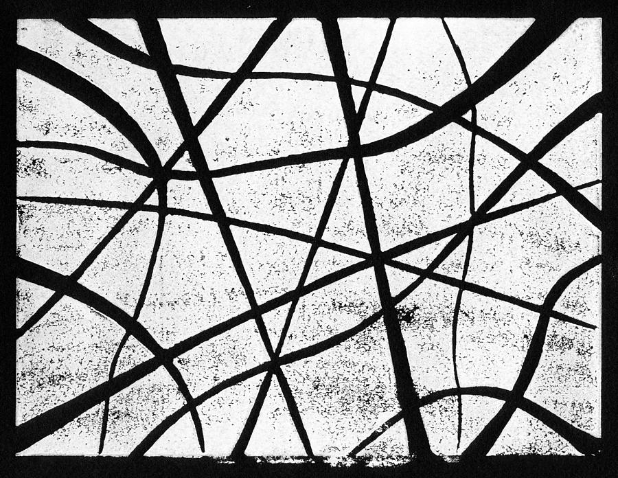 Linocut Painting - White On Black by Hakon Soreide