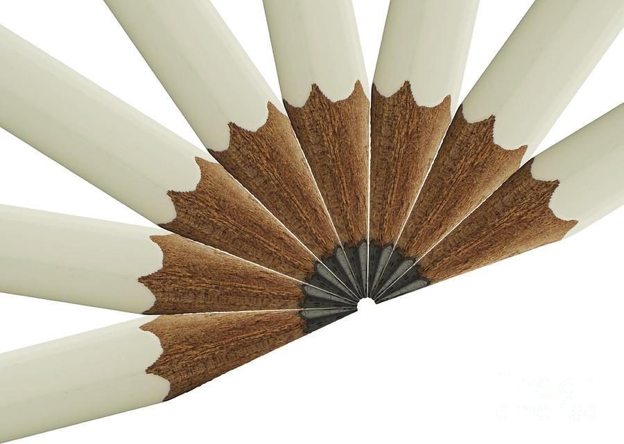 Pencil Photograph - White Pencil Fan by Blink Images