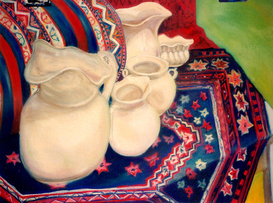 Still Life Pastel - White Pitchers by Eliezer Sobel