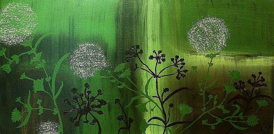 White Flowers Painting - White Pom Pom Flowers by Glenda  Jones