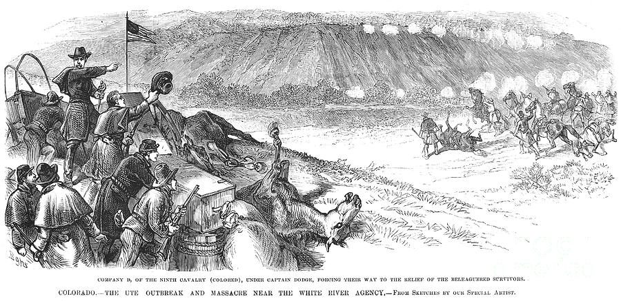 10th Cavalry Photograph - White River Attack, 1879 by Granger