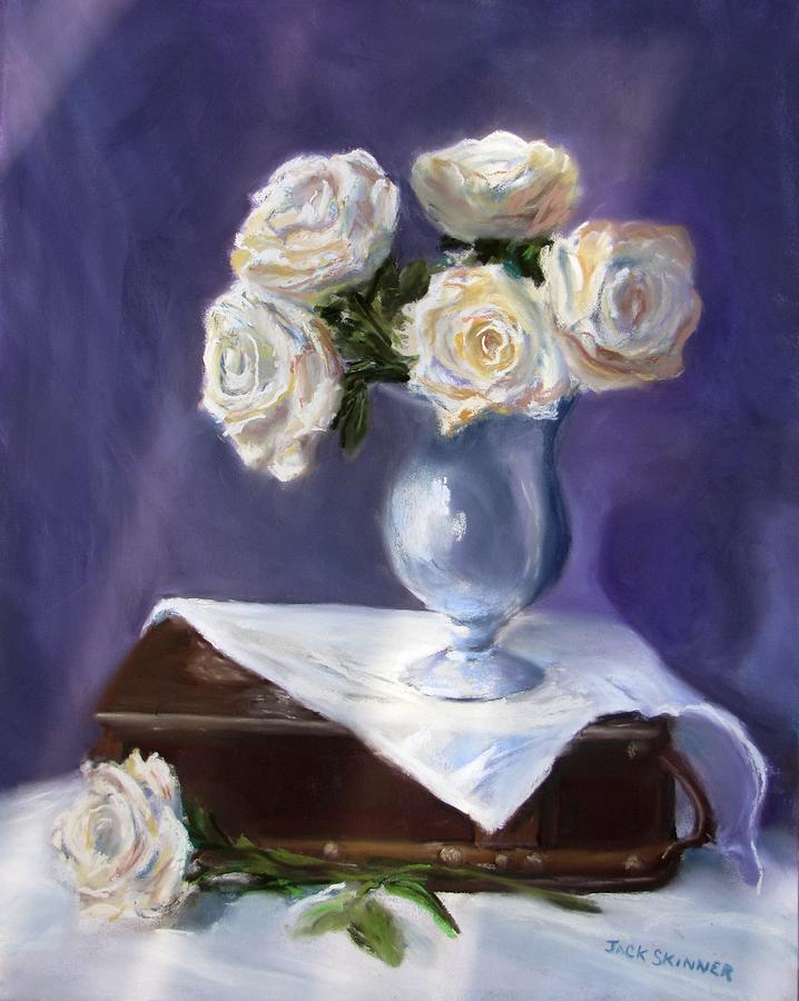 Flowers Painting - White Roses In A Silver Vase by Jack Skinner