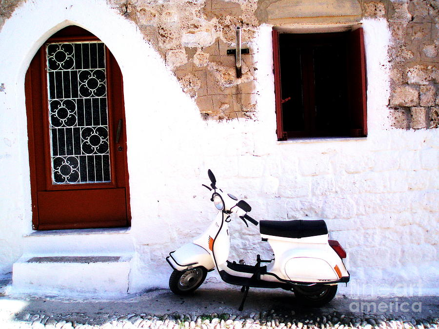Scooter Photograph - White Scooter Dreams Horizontal by Anthony Novembre
