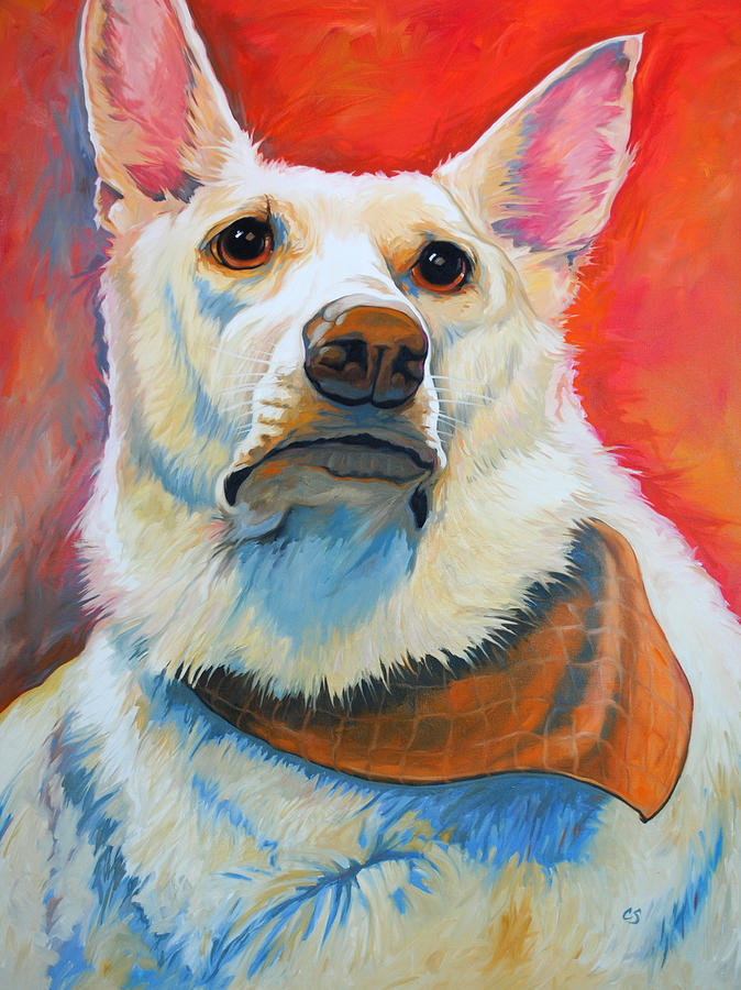 White Painting - White Shepherd by Chris Steinken