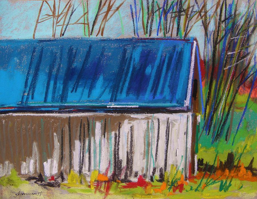 Barn Painting - White Slatted Barn by John Williams