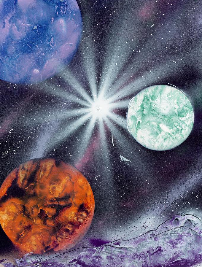 Fantasy Painting - White Star Burst by Marc Chambers