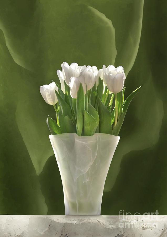 Harmony Digital Art - White Tulips by Johnny Hildingsson