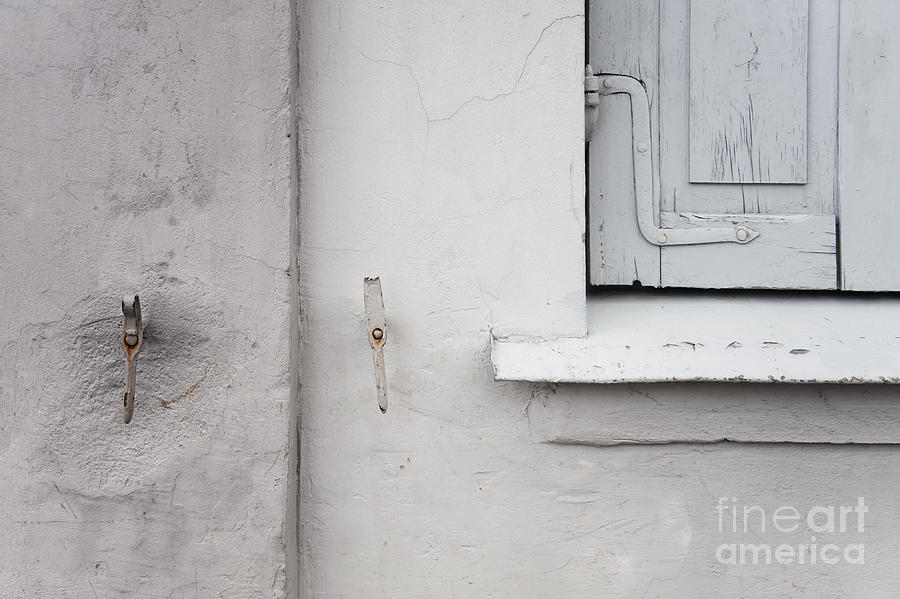 Wall Photograph - White Wall Gray Shutters by Agnieszka Kubica