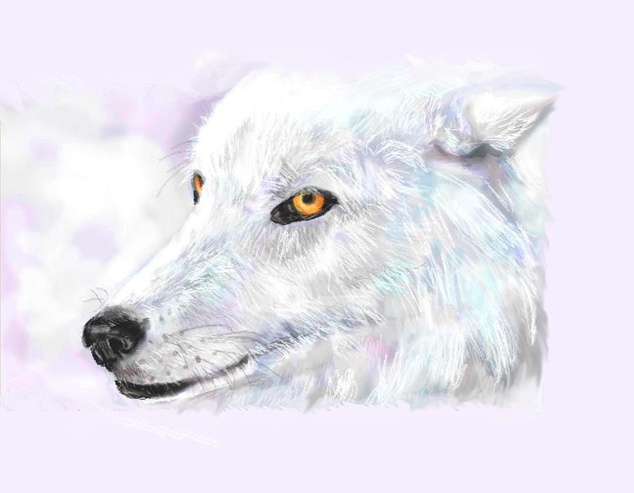 Wolf Mixed Media - White Wolf by Lakota Phillips