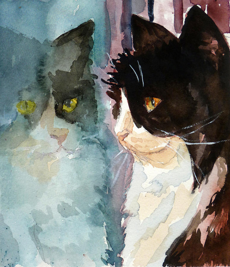 Cat Painting - Who Are You by P Maure Bausch