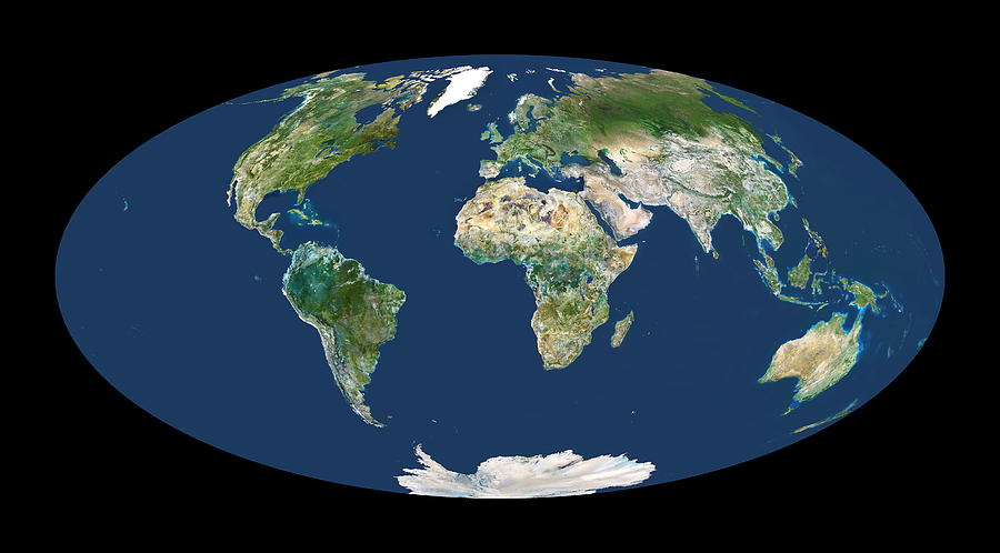 Whole Earth Map Photograph by Planetobserver