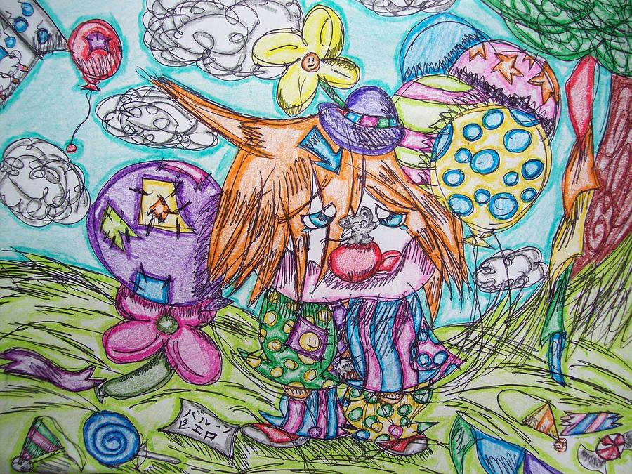 Clown. Balloons Drawing - Why Me? by Rosetta Mcbride