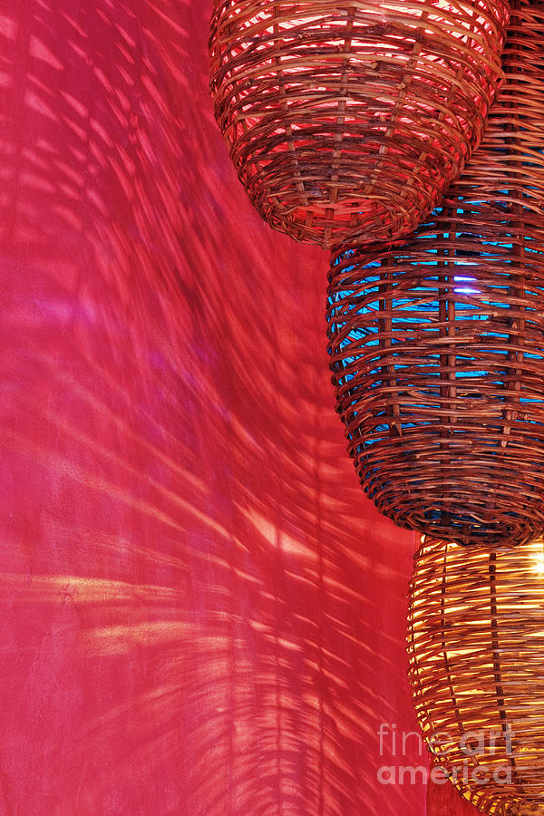 Architecture Photograph - Wicker Light Shades And Pink Wall by Jeremy Woodhouse