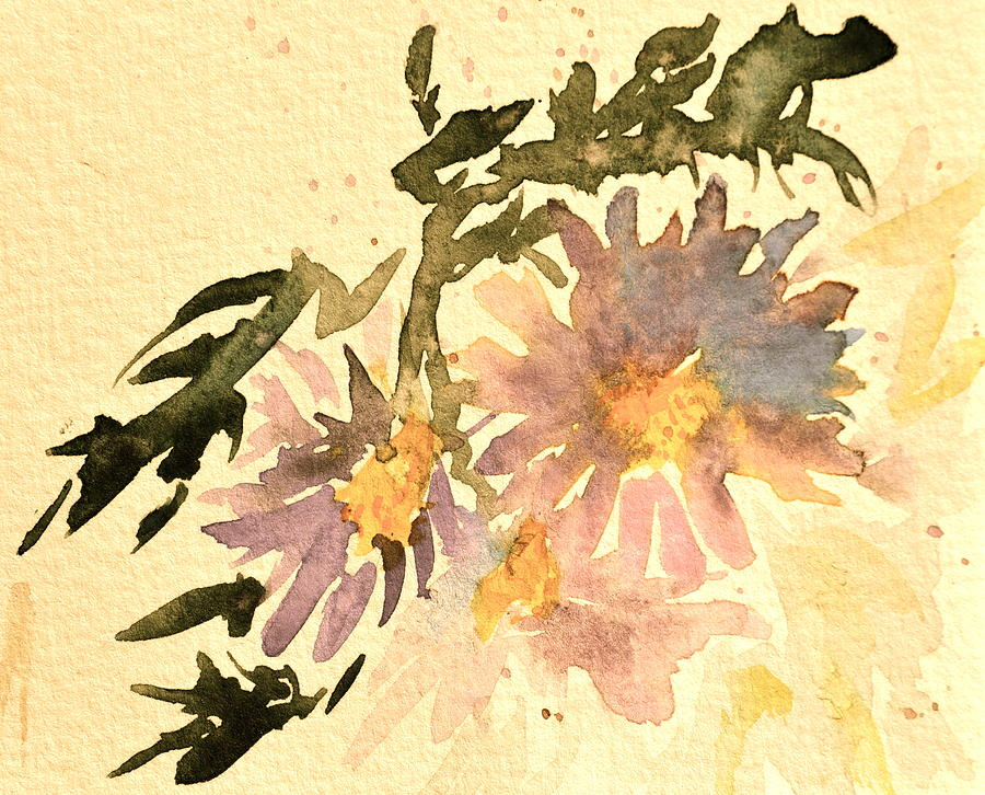Aster Painting - Wild Asters Aged Look by Beverley Harper Tinsley