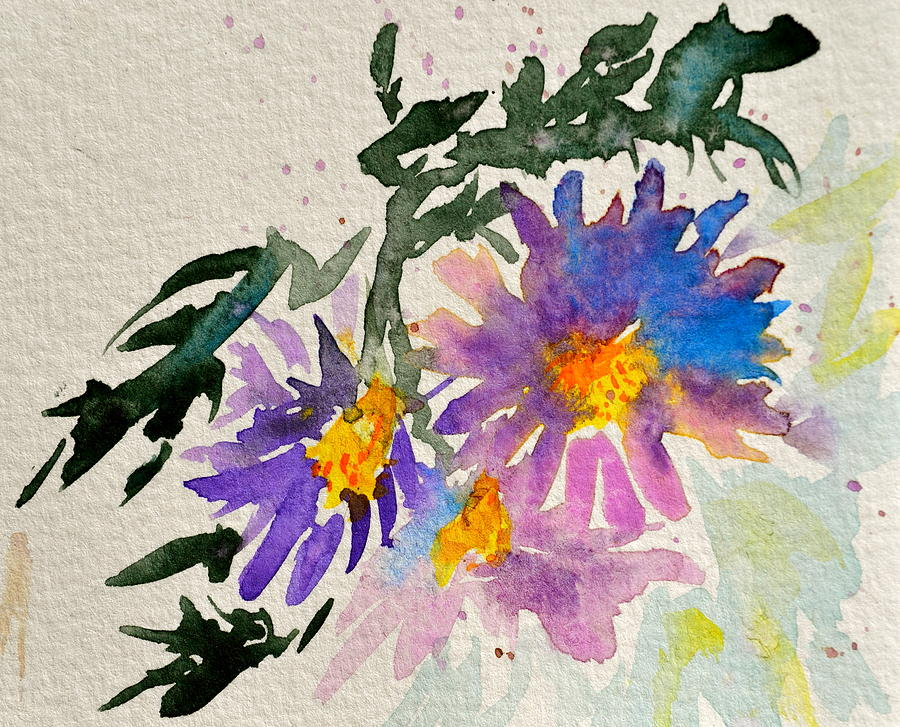 Aster Painting - Wild Asters by Beverley Harper Tinsley