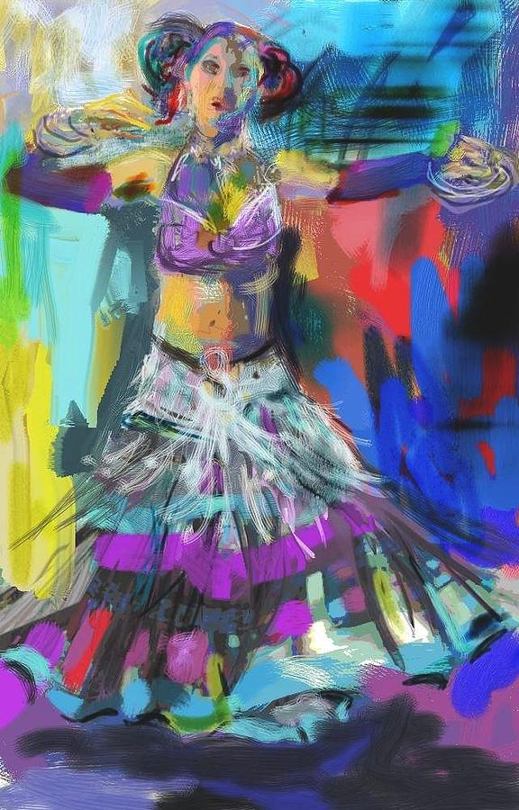 Dancer Digital Art - Wild Belly Dancer by Barbara Kelley